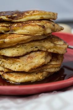 Fluffy blood orange greek yogurt pancakes make the best breakfast! We make them on the weekends and freeze some for the week:-) Fruit Pancakes, Greek Yogurt Pancakes, Crepes And Waffles, Savory Pancakes, Yogurt Recipes, Waffle Recipes, Pancake Recipes, Brunch Recipes, Clean Eating Pancakes