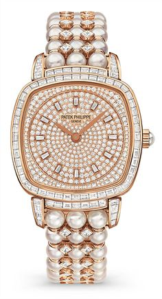 Diamond Watches Ideas : Patek Philippe Watch in diamonds and pearls Patek Philippe, Bling Bling, High Jewelry, Pearl Jewelry, Dior, Beautiful Watches, Luxury Watches, Quartz Watch, Earrings