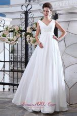 Simple A-line V-neck Maternity Wedding Dress Chiffon Ruch and Appliques Floor-length - US$175.59