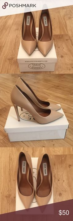 """💖Steve Madden Proto Heels💖 Good condition. Size 9. Blush lea color. Leather with pointed toe. Approximately 4 1/4"""" heel. Two minor scruffs on left shoe in the front and back, pictures included. Box Included. Too sexy😍😍😩😩 Steve Madden Shoes Heels"""