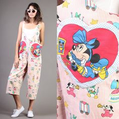 vintage MINNIE MOUSE disney HEART pocket novelty print jumpsuit avant garde festival
