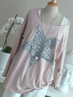 ♥ D & F Langarm Shirt Longleeve Sweat rosa Pailetten Stern Oversize XL 40 / 42 | eBay