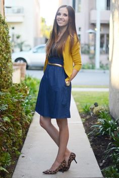 Mustard & chambray are the perfect fall pairing. Add gold & leopard print accessories for a great office to happy hour outfit.