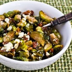Kalyn's Kitchen®: Recipe for Roasted Brussels Sprouts with Pecans (with or without Gorgonzola Cheese)  [#SouthBeachDiet friendly #Recipe]