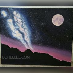 """""""Milky Way Love"""" by Lorel Dyer. Acrylic Painting 2016.  #art #artoftheday #paradise #painting #artist #artistic #cteative #milkyway #starrynight #stars #camping #outdoors #moon #lorellee"""