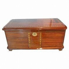 Jewelry/Gift Natural Wooden Box with Glossy-painted Finish, Each Includes One Lock