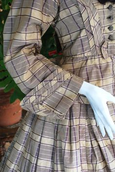 """sleeve detail - 1860 Plaid Silk Ladies Afternoon Visting Outfit 