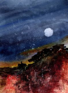 Midnight Return by Paul Steven Bailey: Watercolour 8 x 11 inches 2011 Abstract Tree Painting, Watercolor Landscape Paintings, Painting Prints, Watercolor Paintings, Abstract Art, Art Paintings, Watercolour, Nocturne, Art After Dark