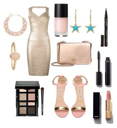 """""""Mermaid #145"""" by mroselagger ❤ liked on Polyvore featuring Jennifer Meyer Jewelry, Hervé Léger, Tory Burch, Manolo Blahnik, Bobbi Brown Cosmetics, Smith & Cult, Chanel, Accessorize and DIANA BROUSSARD"""