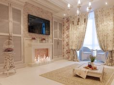 Кирпич в интерьере гостиной в стиле прованс