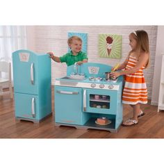 2 Piece Retro Kitchen furniture set for kids best kitchen sets for kids to play with fun toys!  (aff link)