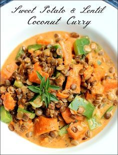 Sweet Potato Lentil Coconut Curry - vegan, gluten free, easy to make and delicious! #recipe #vegan #entree