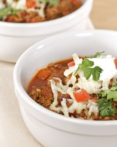 There's nothing funny about Jimmy Fallon's Crock-Pot Chili. It packs a serious flavor punch and is served with all the fixin's.