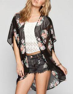 FULL TILT Floral Print Womens Lace Back Kimono