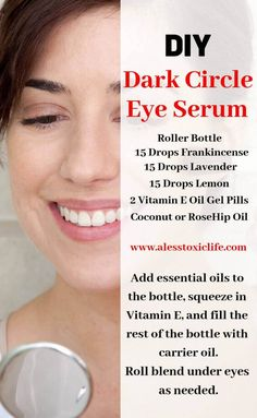 Use this combination of essential oils to help reduce dark circles under your eyes. Soothing and gentle without toxins. Get 20 + recipes like this using the 6 most commonly used oils. care dark circles care logo care skin care tips care vision Natural Beauty Remedies, Home Remedies For Hair, Natural Beauty Tips, Natural Life, Beauty Hacks For Teens, Reduce Dark Circles, Dark Eye Circles, Beauty Tips For Face, Homemade Cosmetics