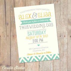 Summer Mint and Mustard Yellow Chevron Wedding Invitation Invite Printable OR Printed Card