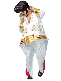 Funny King of Rock costume includes full-length, one-piece white jumpsuit with Vegas-y faux rhinestone designs on front and gold look on cuffs and faux belt and apompadour-style headpiece. Shoes not included. When King was young he became a big star, when Dress Up Costumes, Cosplay Costumes, Fun Costumes, Funny Adult Costumes, Pompadour Style, Las Vegas, King Costume, Morris Costumes, Creative Halloween Costumes