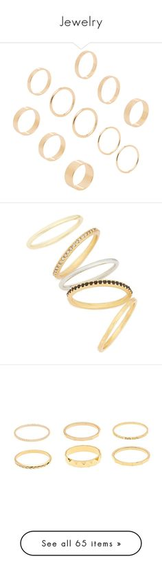 """""""Jewelry"""" by kmeowj ❤ liked on Polyvore featuring jewelry, rings, gold, gold stacking rings, yellow gold stackable rings, gold jewelry, polishing gold rings, stackable rings, accessories and jewels"""