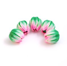 Tulip beads  pink and dark green flower tulips by ekkaBoutique
