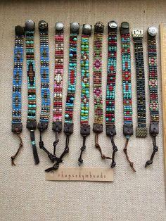 Boho handmade beaded navajo pattern loom bracelets,leather ends( choice of by Rhapsodybeaddesigns on Etsy Beading Patterns Free, Seed Bead Patterns, Beaded Jewelry Patterns, Beading Ideas, Beading Supplies, Loom Bracelet Patterns, Bead Loom Bracelets, Embroidery Bracelets, Jewelry Bracelets