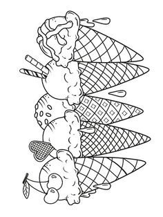 Ice Cream Coloring Pages, Coloring Sheets For Kids, Adult Coloring, Free Coloring, Unicorn Coloring Pages, Coloring Book Pages, Printable Coloring Pages, Summer Coloring Pages, Art Drawings For Kids