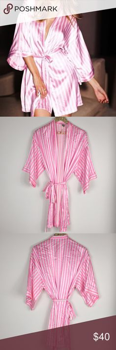 Victoria s Secret Pink  amp  White Striped Satin Robe Victoria s Secret  pink amp  white striped Satin 83713f222