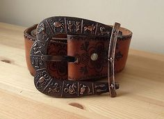#Vintage 1970s #copper zodiac #buckle tan embossed leather belt xl horoscope sign, View more on the LINK: http://www.zeppy.io/product/gb/2/302035195496/
