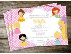 Polka Dot Disney Princess Birthday Party Invitation by 2SweetTeas, $15.00