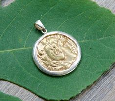 Gold Coin Pendant  Alexander the Great  925 Sterling Silver