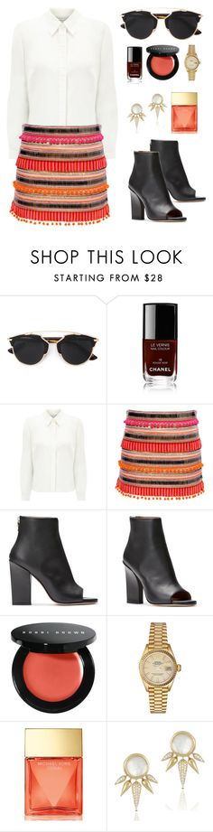 """C o r a l"" by nina-florence ❤ liked on Polyvore featuring Christian Dior, Chanel, Eastex, Bobbi Brown Cosmetics, Rolex and Michael Kors"