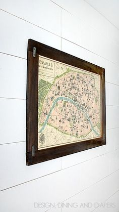 DIY Rustic Frame with map art! Super easy tutorial! via designdininganddiapers.com