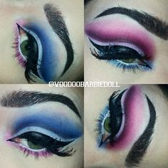 Suicide Squad Harley Quinn Inspired Cut Crease | IG @voodoobarbiedoll | Harley Quinn Makeup, Pink and Blue Makeup, Dramatic Makeup, Everyday Makeup, Eyebrows, Cut Crease, Cat Eye, Liquid Liner