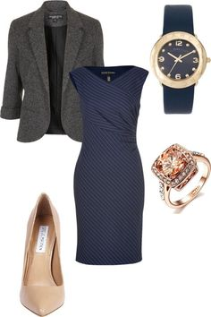 navy pinstripe dress, tweed blazer, nude pumps