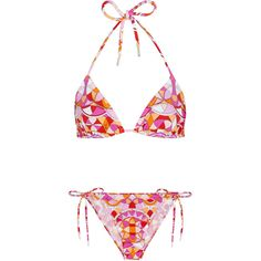 Emilio Pucci Printed Triangle Bikini - Size 10 (225.830 CLP) ❤ liked on Polyvore featuring swimwear, bikinis, tie bikini top, triangle bikini top, neck-tie, neck ties and bikini two piece