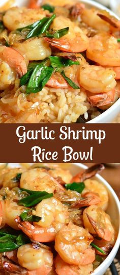 Shrimp Rice Bowl Recipe, Shrimp And Rice Recipes, Grilled Shrimp Recipes, Shrimp Recipes For Dinner, Shrimp Dishes, Sauteed Shrimp, Garlic Shrimp Scampi, Best Seafood Recipes, Healthy Rice Recipes