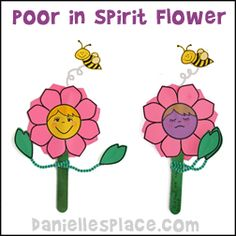 Flower Puppet Craft - The flower has a happy face on one side and a praying humble face on the other. This craft goes along with the Beatitu...