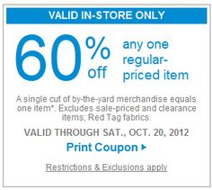 Jo Ann Fabric 60% Off Coupon allthingscheapandfree.com