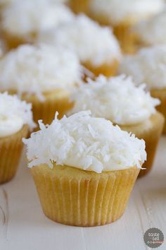 Coconut lovers will go crazy over these Coconut Cupcakes that are perfectly moist coconut cupcakes topped with a cream cheese frosting and even more coconut.: