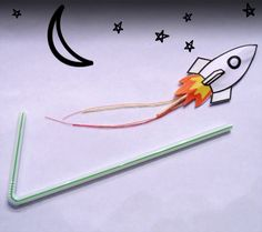 Paper rockets: put rocket attached to toothpick into bendy straw, blow hard to shoot the rocket!