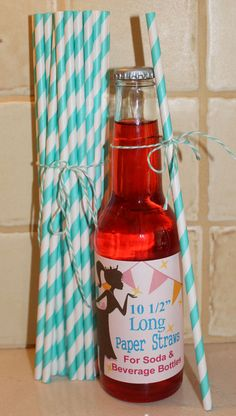 25 LONG PAPER STRAWS  - 10 1/2 Inches Long Aqua Striped Paper Straws for Tall Soda Bottles - Wedding, Party, Beverage Bar, Made In Usa. $5.00, via Etsy.