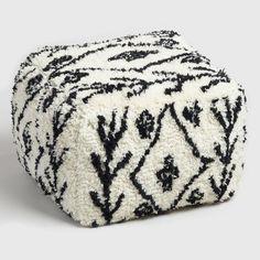 Cube Beni Ourain Pouf, white,Black stripes