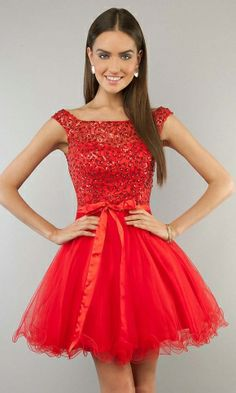 red prom dress, short prom dress, cap sleeve prom dress, cute prom dress