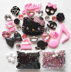 DIY 3D Blinged out Kitty Cell Phone Case Resin Flat back Kawaii Cabochons Deco Kit / Set -- lovekitty,$20.99