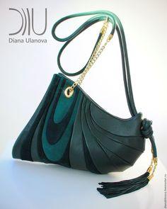 """Купить Сумка кожаная """"Шиншилла"""" - комбинированный, однотонный, Кожаная сумка, необычная сумка, подарок женщине"""