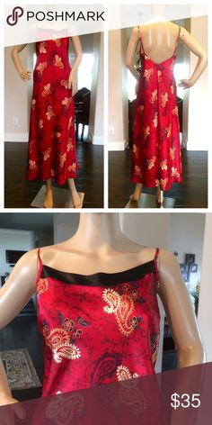JNY Red Paisley Nightgown Beautiful vibrant long Nightgown with adjustable Spaghetti straps. Was only used once in excellent condition Jones New York Intimates & Sleepwear Chemises & Slips