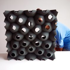 The Picoroco Block™ is a modular 3D printed building block for wall fabrication printed from sand. Each block is 12″X12″X12″ and dimensional variability is possible using the 3D printing process.