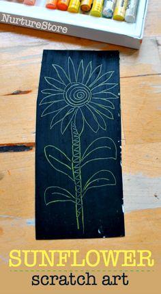 sunflower scratch art, easy sunflower art projects for children, how to make scratch art Summer Art Projects, Projects For Kids, Kids Crafts, Shape Games For Kids, Art For Kids, Creative Writing Ideas, Creative Play, Summer Art Activities, Simple Art