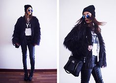 Zerouv Sunnies, Sheinside Jacket, Zara Necklace, Persunmall Bag, Primark Pants, Wholesale7 Boots, Wendybox Loose Cardigan - BLACK ON BLACK - Sofia  Reis