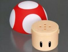 Super Mario Mushroom Salt and Pepper Shakers