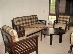 Set Kursi Tamu Sofa Kotak Kotak Terbuat Dari Kayu Jati Berdesain Minimalis  Terdapat Busa Tebal Dengan · Wooden Sofa Set DesignsBest ...